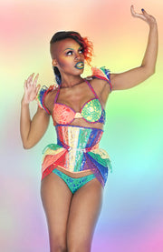 Clear PVC and Rainbow Lace Hip Armour