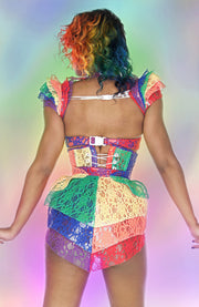 Clear PVC and Rainbow lace Underbust corset