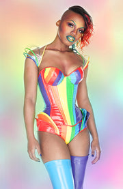 Rainbow Striped PVC High waisted underwear