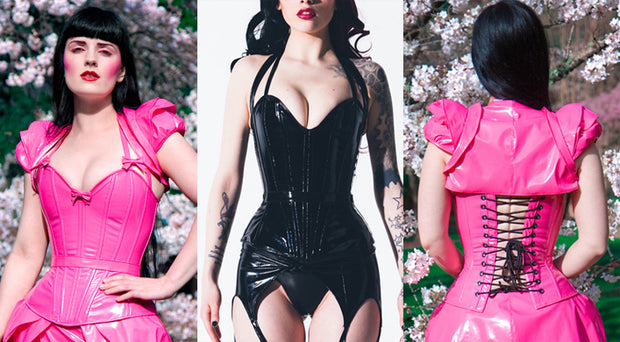 Plunge PVC Overbust Corset with straps
