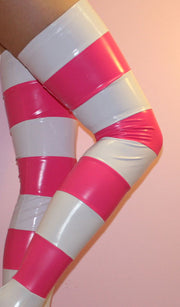Striped PVC stockings