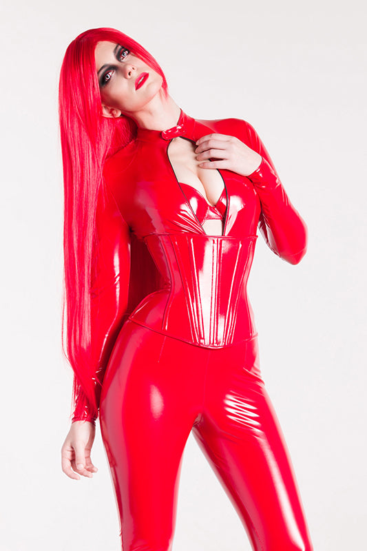 PVC Catsuit with a Collar