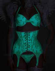 Glow in the dark Lace Garter Corset (6 clip version)