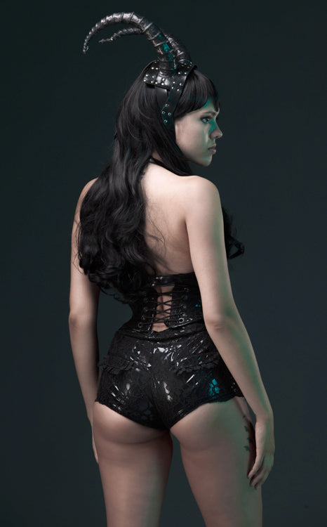 PVC and Lace overlay Booty Shorts