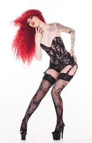 Clear PVC and lace garter belt