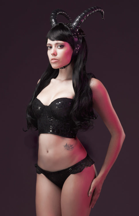 PVC and Lace overlay Bustier