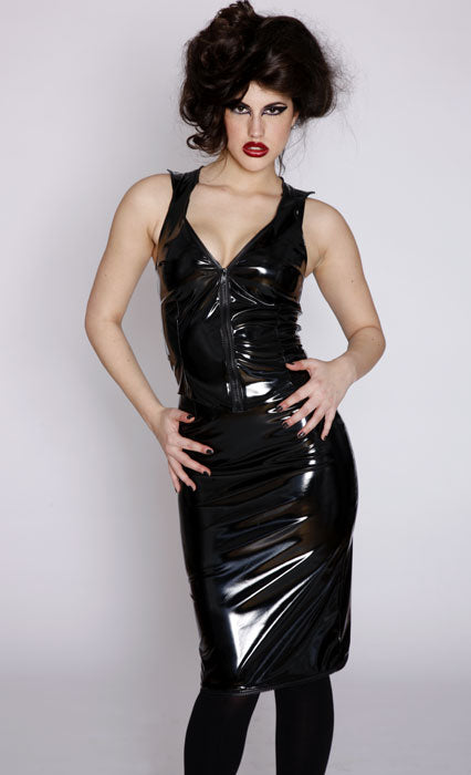 Kinetic zipper PVC pencil skirt