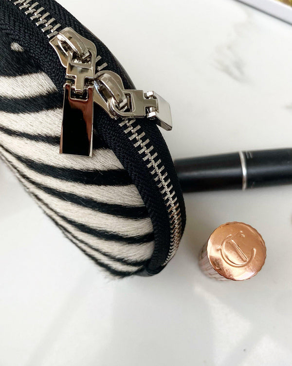 Leather cosmetic pouch - Zebra-The Style Attic