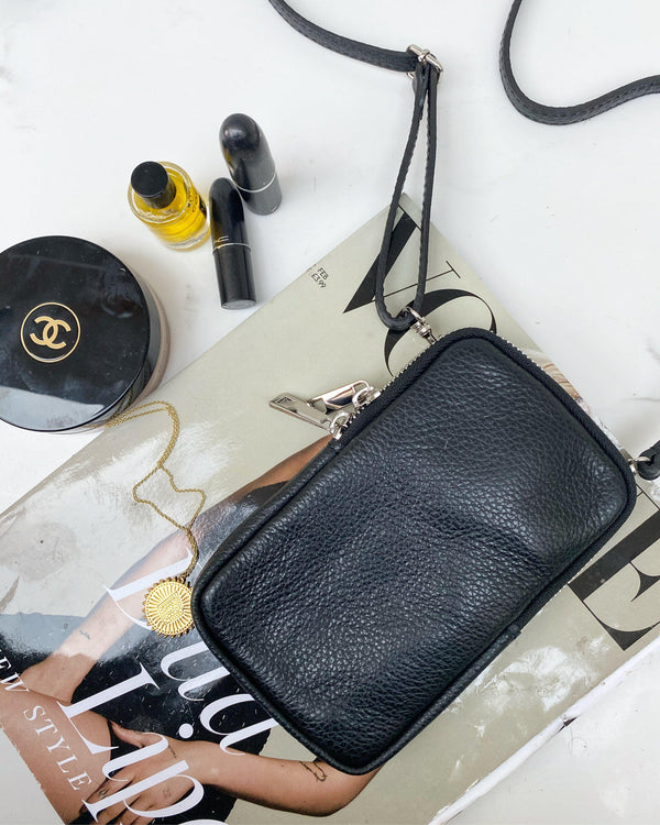 Leather phone pouch - Black-The Style Attic