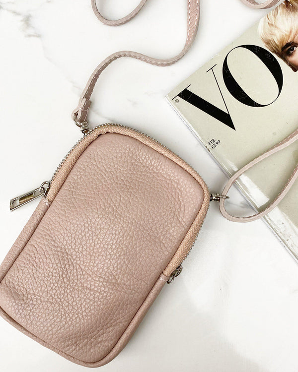 Leather phone pouch - Blush-The Style Attic