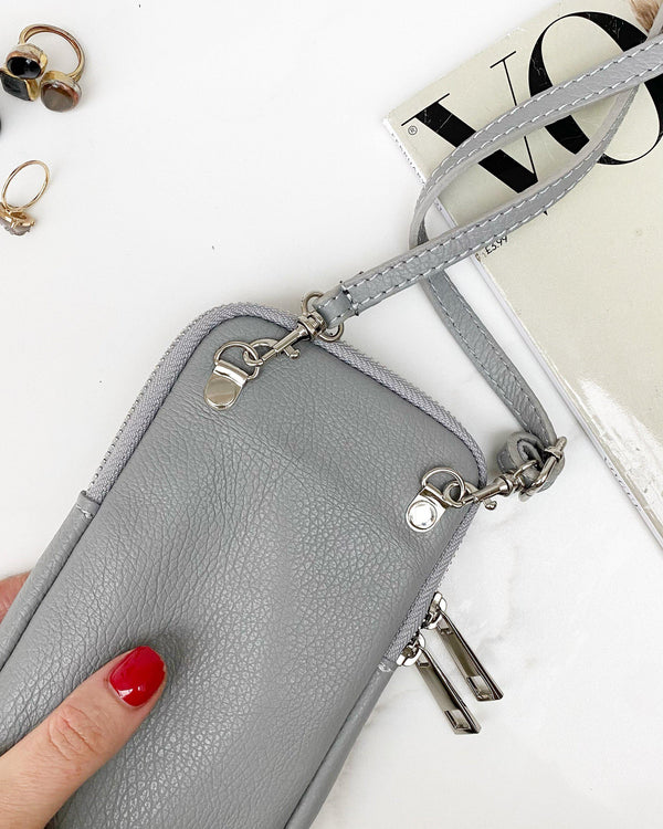 Leather phone pouch - Light Grey-The Style Attic
