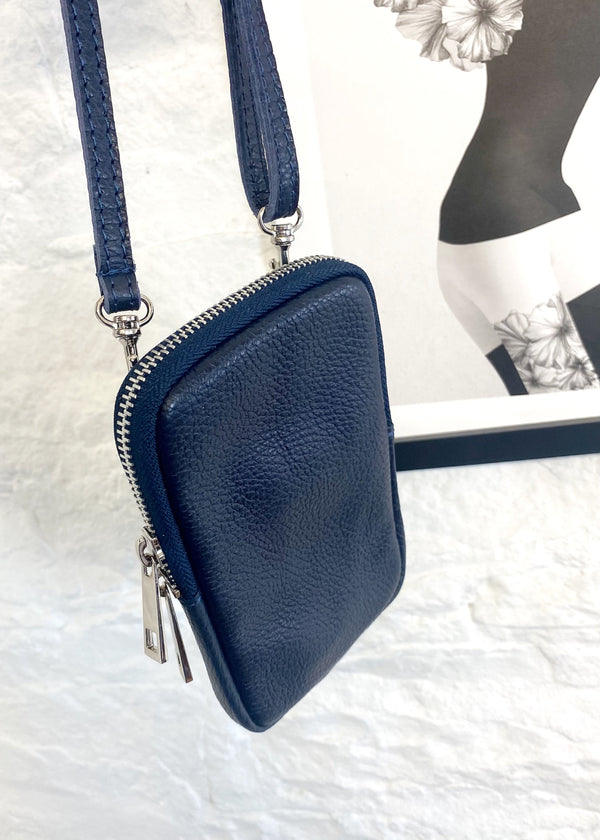 Leather phone pouch - Navy-The Style Attic