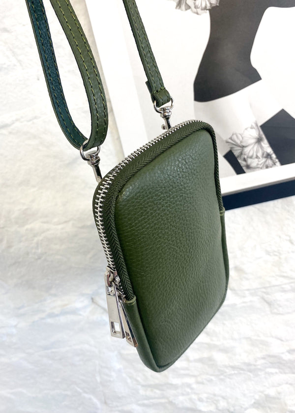 Leather phone pouch - Olive-The Style Attic