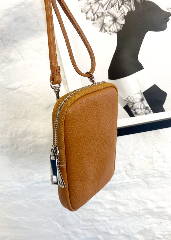 Leather phone pouch - Tan-The Style Attic