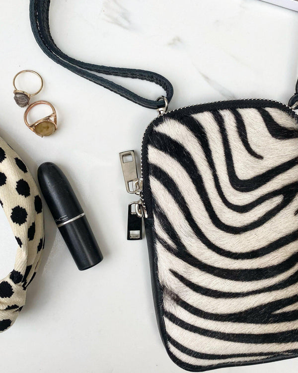 Leather phone pouch - Zebra-The Style Attic