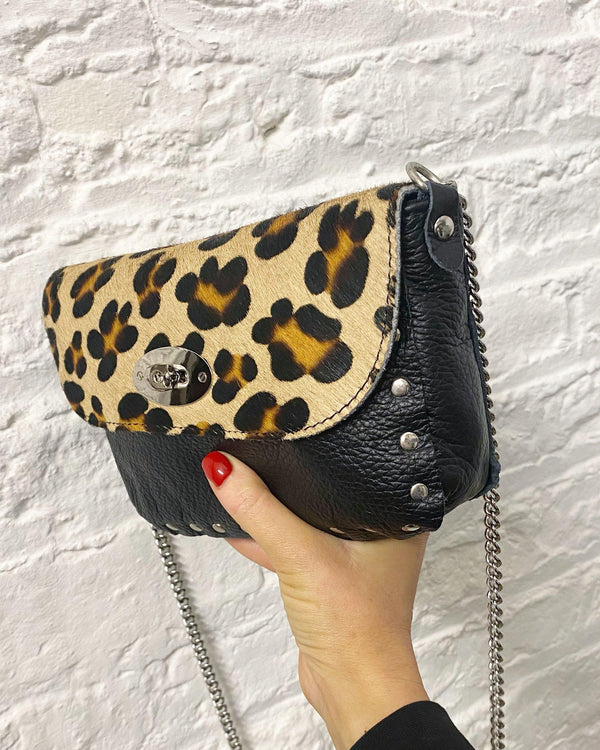 Leopard leather chain bag-The Style Attic
