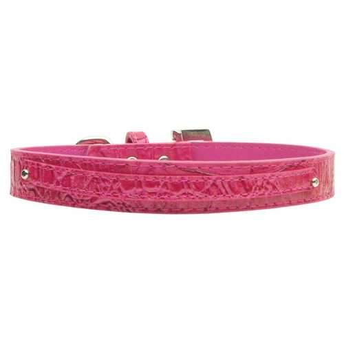 "3/8"" (10mm) Faux Croc Two Tier Collars Pink Large"