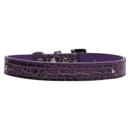 "3/8"" (10mm) Faux Croc Two Tier Collars Purple Large"