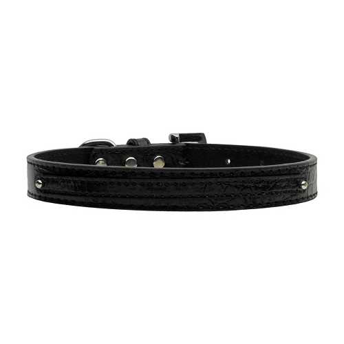 "3/8"" (10mm) Faux Croc Two Tier Collars Black Small"