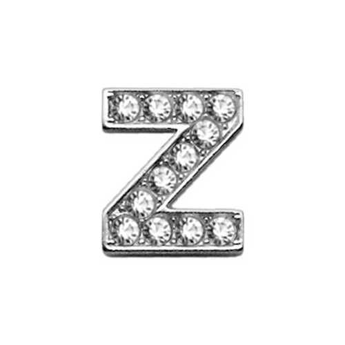 "3/8"" Clear Bling Letter Sliding Charms Z ."