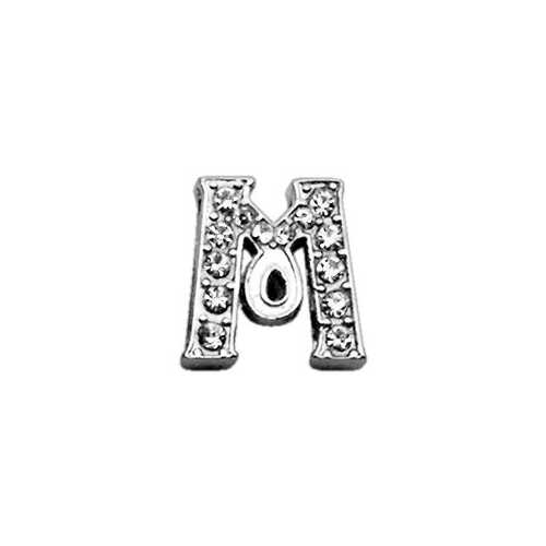 "3/8"" Clear Script Letter Sliding Charms M ."
