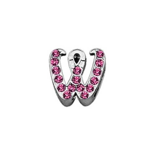 "3/8"" Pink Script Letter Sliding Charms W ."