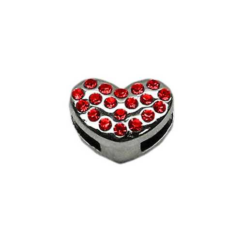 "3/8"" Slider Puffy Heart Charm Red"
