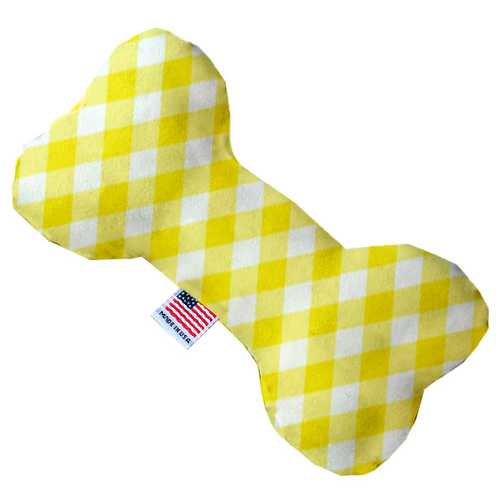 Yellow Plaid 8 inch Bone Dog Toy