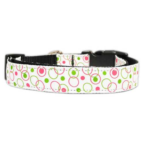 Retro Nylon Ribbon Collar White Sm