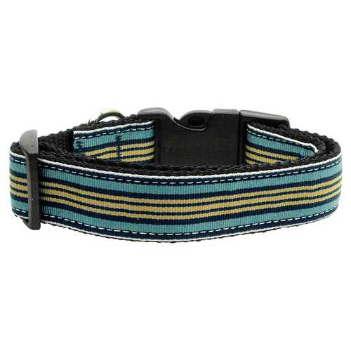Preppy Stripes Nylon Ribbon Collars Light Blue/Khaki Medium