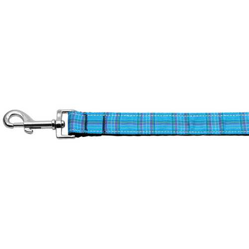 Plaid Nylon Collar  Blue 1 wide 6ft Lsh