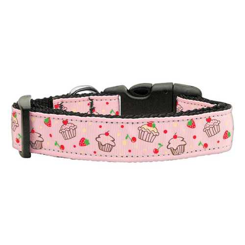 Cupcakes Nylon Ribbon Collar Light Pink Medium