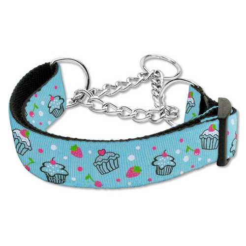 Cupcakes Nylon Ribbon Collar Martingale Medium Baby Blue