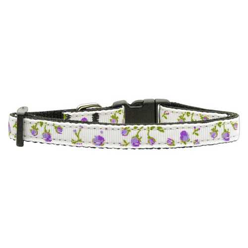 Roses Nylon Ribbon Collar Purple X-Small