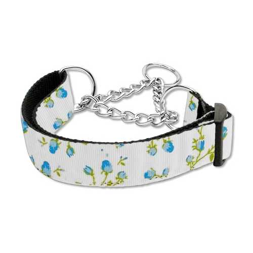 Roses Nylon Ribbon Collar Martingale Large Blue