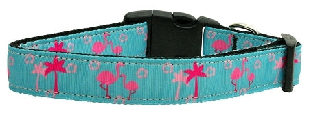 Pink Flamingos Nylon Ribbon Dog Collars Large