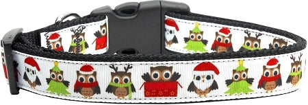 Santa Owls Ribbon Dog Collars Medium