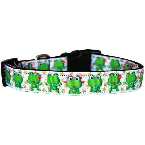 Happy Frogs Nylon Dog Collar MD Narrow