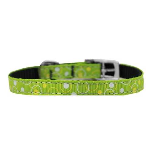 "Retro Nylon Dog Collar with classic buckle 3/8"" Lime Green Size 14"