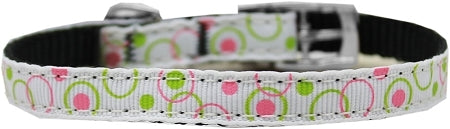 "Retro Nylon Dog Collar with classic buckle 3/8"" White Size 10"