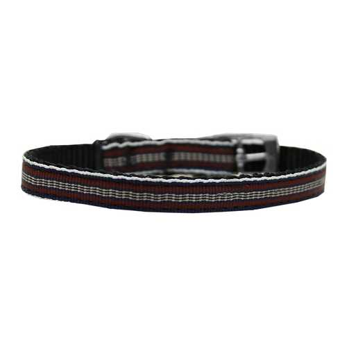 "Preppy Stripes Nylon Dog Collar with classic buckles 3/8"" Brown/Khaki Size 8"