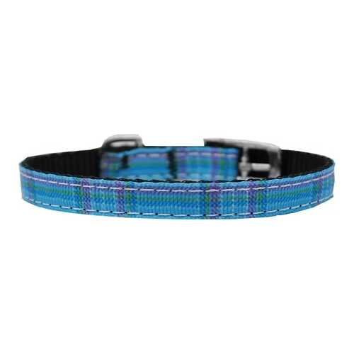 "Plaid Nylon Dog Collar with classic buckle 3/8"" Blue Size 10"