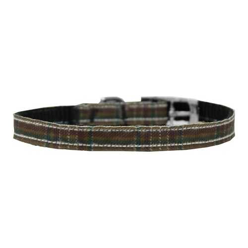 "Plaid Nylon Dog Collar with classic buckle 3/8"" Brown Size 10"