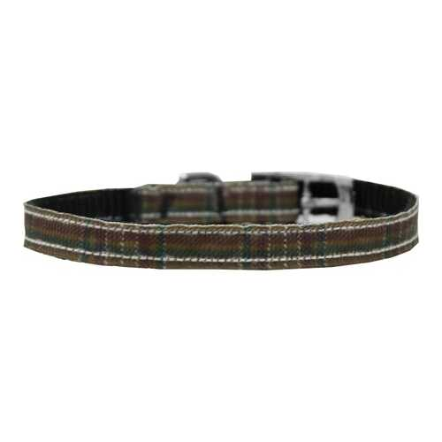 "Plaid Nylon Dog Collar with classic buckle 3/8"" Brown Size 8"