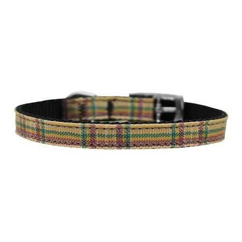 "Plaid Nylon Dog Collar with classic buckle 3/8"" Khaki Size 12"