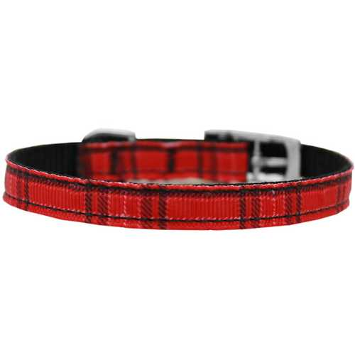 "Plaid Nylon Dog Collar with classic buckle 3/8"" Red Size 16"