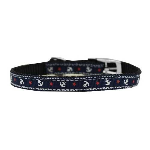 "Anchors Nylon Dog Collar with classic buckle 3/8"" Blue Size 12"