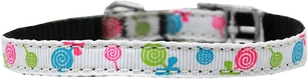 "Lollipops Nylon Dog Collar with classic buckle 3/8"" White Size 14"
