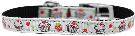 "Cupcakes Nylon Dog Collar with classic buckle 3/8"" White Size 8"