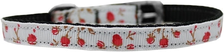 "Roses Nylon Dog Collar with classic buckle 3/8"" Red Size 12"